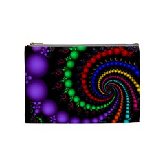 Fractal Background With High Quality Spiral Of Balls On Black Cosmetic Bag (medium)  by Amaryn4rt