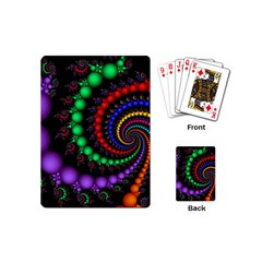 Fractal Background With High Quality Spiral Of Balls On Black Playing Cards (mini)  by Amaryn4rt