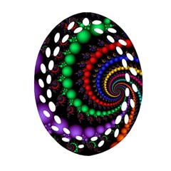 Fractal Background With High Quality Spiral Of Balls On Black Oval Filigree Ornament (two Sides) by Amaryn4rt