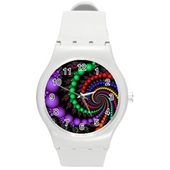 Fractal Background With High Quality Spiral Of Balls On Black Round Plastic Sport Watch (m) by Amaryn4rt