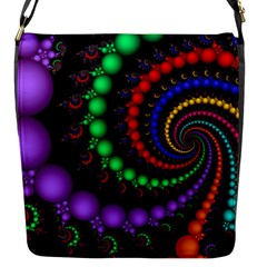 Fractal Background With High Quality Spiral Of Balls On Black Flap Messenger Bag (s) by Amaryn4rt