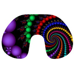 Fractal Background With High Quality Spiral Of Balls On Black Travel Neck Pillows by Amaryn4rt