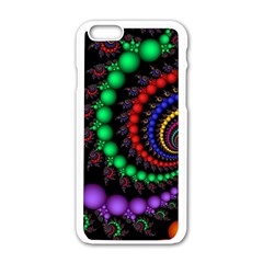 Fractal Background With High Quality Spiral Of Balls On Black Apple Iphone 6/6s White Enamel Case by Amaryn4rt