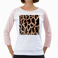 Yellow And Brown Spots On Giraffe Skin Texture Girly Raglans by Amaryn4rt