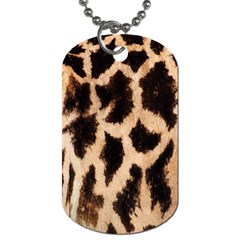 Yellow And Brown Spots On Giraffe Skin Texture Dog Tag (two Sides) by Amaryn4rt