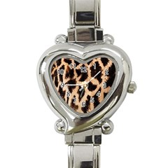 Yellow And Brown Spots On Giraffe Skin Texture Heart Italian Charm Watch by Amaryn4rt