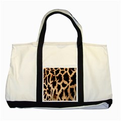 Yellow And Brown Spots On Giraffe Skin Texture Two Tone Tote Bag by Amaryn4rt