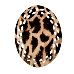 Yellow And Brown Spots On Giraffe Skin Texture Oval Filigree Ornament (two Sides) by Amaryn4rt