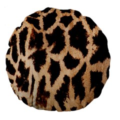 Yellow And Brown Spots On Giraffe Skin Texture Large 18  Premium Flano Round Cushions by Amaryn4rt