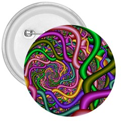Fractal Background With Tangled Color Hoses 3  Buttons by Amaryn4rt
