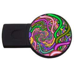 Fractal Background With Tangled Color Hoses Usb Flash Drive Round (2 Gb) by Amaryn4rt