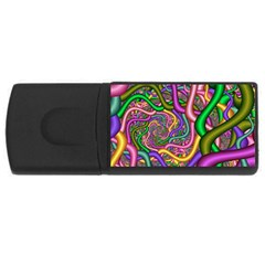 Fractal Background With Tangled Color Hoses Usb Flash Drive Rectangular (4 Gb) by Amaryn4rt