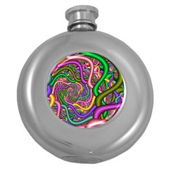 Fractal Background With Tangled Color Hoses Round Hip Flask (5 Oz) by Amaryn4rt