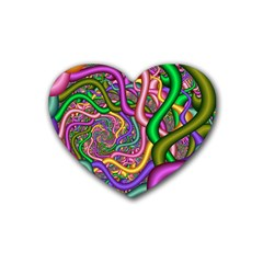 Fractal Background With Tangled Color Hoses Rubber Coaster (heart)  by Amaryn4rt