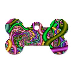 Fractal Background With Tangled Color Hoses Dog Tag Bone (two Sides) by Amaryn4rt
