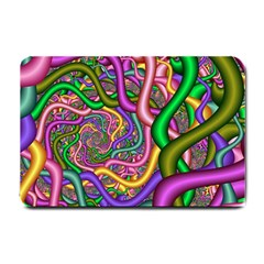 Fractal Background With Tangled Color Hoses Small Doormat  by Amaryn4rt