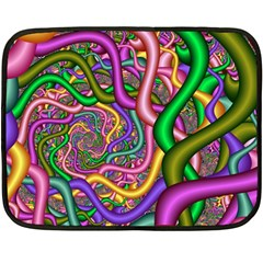 Fractal Background With Tangled Color Hoses Fleece Blanket (mini) by Amaryn4rt
