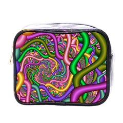 Fractal Background With Tangled Color Hoses Mini Toiletries Bags by Amaryn4rt