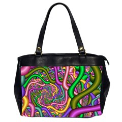 Fractal Background With Tangled Color Hoses Office Handbags (2 Sides)  by Amaryn4rt