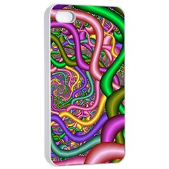 Fractal Background With Tangled Color Hoses Apple Iphone 4/4s Seamless Case (white) by Amaryn4rt