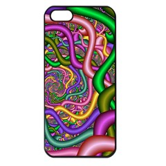 Fractal Background With Tangled Color Hoses Apple Iphone 5 Seamless Case (black) by Amaryn4rt
