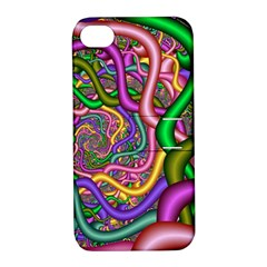 Fractal Background With Tangled Color Hoses Apple Iphone 4/4s Hardshell Case With Stand by Amaryn4rt