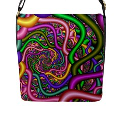 Fractal Background With Tangled Color Hoses Flap Messenger Bag (l)  by Amaryn4rt
