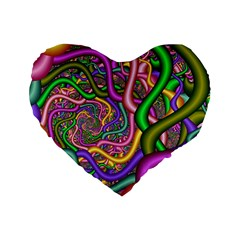 Fractal Background With Tangled Color Hoses Standard 16  Premium Flano Heart Shape Cushions by Amaryn4rt