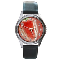 Red Pepper And Bubbles Round Metal Watch by Amaryn4rt