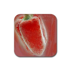 Red Pepper And Bubbles Rubber Coaster (square)  by Amaryn4rt