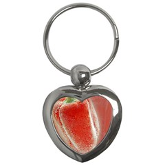 Red Pepper And Bubbles Key Chains (heart)  by Amaryn4rt