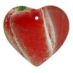 Red Pepper And Bubbles Heart Ornament (two Sides) by Amaryn4rt