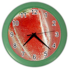 Red Pepper And Bubbles Color Wall Clocks by Amaryn4rt