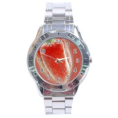 Red Pepper And Bubbles Stainless Steel Analogue Watch by Amaryn4rt