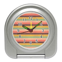 Abstract Vintage Lines Background Pattern Travel Alarm Clocks by Amaryn4rt
