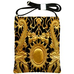 Golden Sun Shoulder Sling Bags by Amaryn4rt
