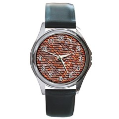 Roof Tiles On A Country House Round Metal Watch by Amaryn4rt