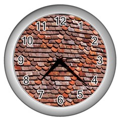 Roof Tiles On A Country House Wall Clocks (silver)  by Amaryn4rt