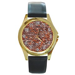 Roof Tiles On A Country House Round Gold Metal Watch by Amaryn4rt