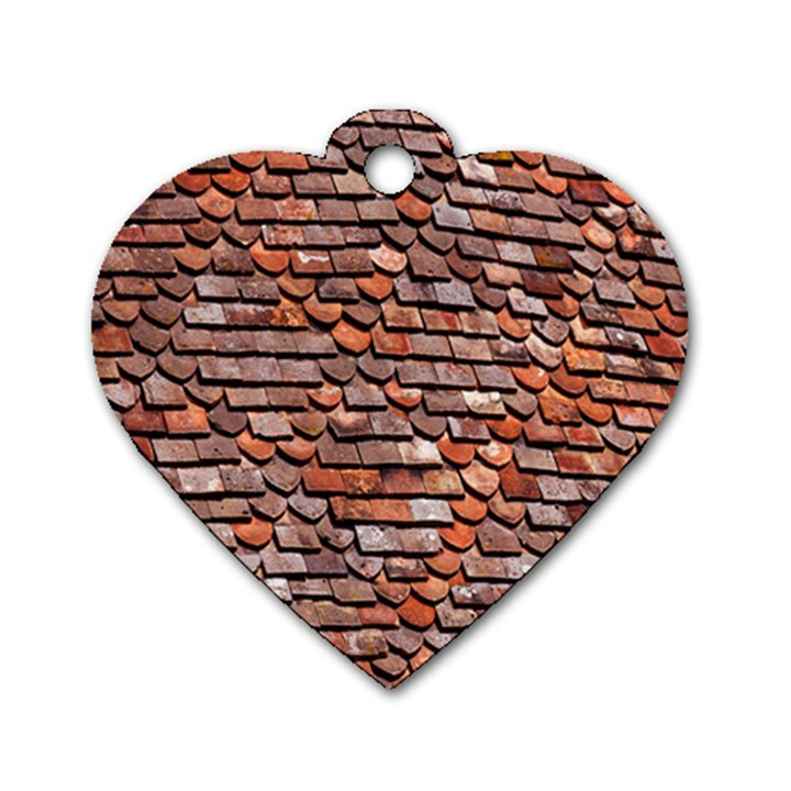 Roof Tiles On A Country House Dog Tag Heart (Two Sides)