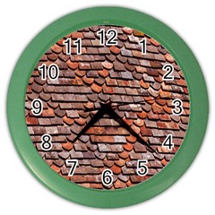 Roof Tiles On A Country House Color Wall Clocks by Amaryn4rt