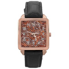 Roof Tiles On A Country House Rose Gold Leather Watch  by Amaryn4rt