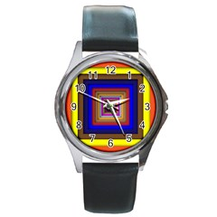 Square Abstract Geometric Art Round Metal Watch by Amaryn4rt