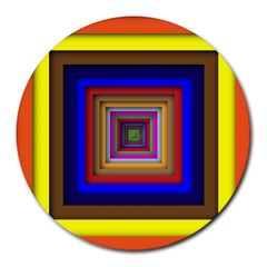 Square Abstract Geometric Art Round Mousepads by Amaryn4rt