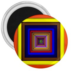 Square Abstract Geometric Art 3  Magnets by Amaryn4rt