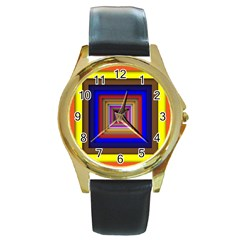 Square Abstract Geometric Art Round Gold Metal Watch by Amaryn4rt