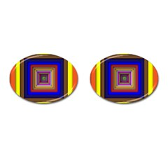 Square Abstract Geometric Art Cufflinks (oval) by Amaryn4rt