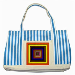 Square Abstract Geometric Art Striped Blue Tote Bag by Amaryn4rt