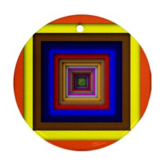 Square Abstract Geometric Art Round Ornament (two Sides) by Amaryn4rt