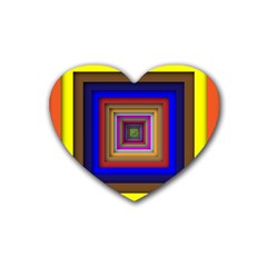 Square Abstract Geometric Art Rubber Coaster (heart)  by Amaryn4rt